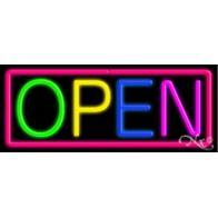 OPEN:Multicolor, Border: Pink