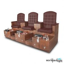 Gulfstream GS Paris Triple Pedicure Bench - Burgundy