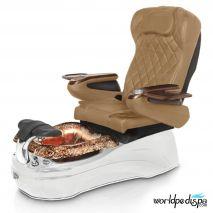 La Tulip 2 Pedicure Chair - Burgundy White Rustic Gold