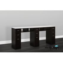 JA-White Granite Top Nail Table Double