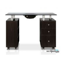JA -Walnut/Black Glass Top Manicure Table with Fan