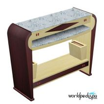 60+84 Dark/Lightwood/Yellow Marble - Nail Dryer Table for Salon