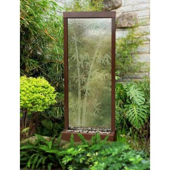 8' Center Mount Dark Copper Gardenfall Fountain With Bamboo Etched Design