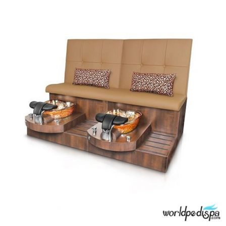 Gulfstream GS Selena Double Pedicure Bench - Curry