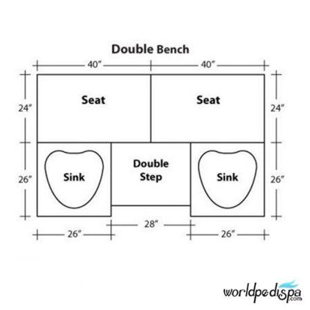 Gulfstream GS Selena Double Pedicure Bench - Dimensions