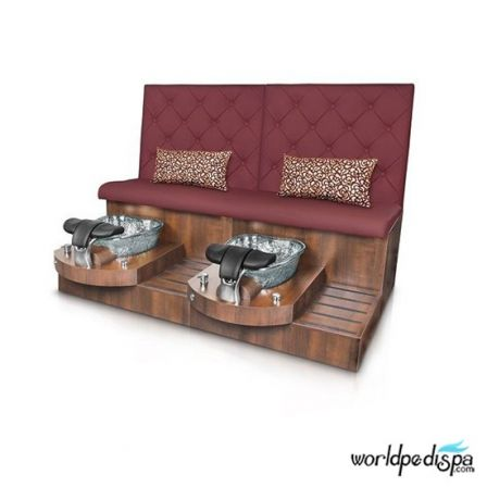 Gulfstream GS Selena Double Pedicure Bench - Hollyhock Clear Bowl