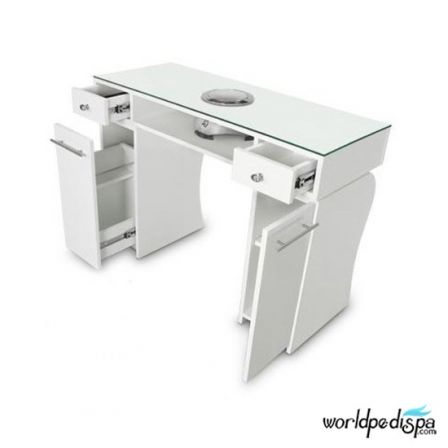 Gulfstream La Rose Manicure Table - White Open Drawer