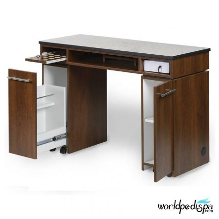 Gulfstream Paris Manicure Table - Open Drawer view