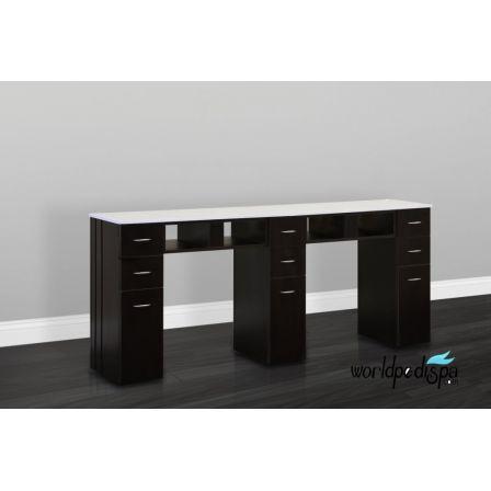 JA-White Granite Top Nail Table Double