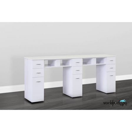 Double White With White Granite Top Table