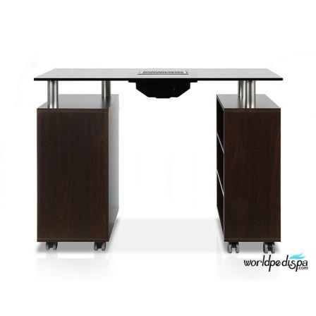 JA -Walnut/Black Glass Top Manicure Table with Fan