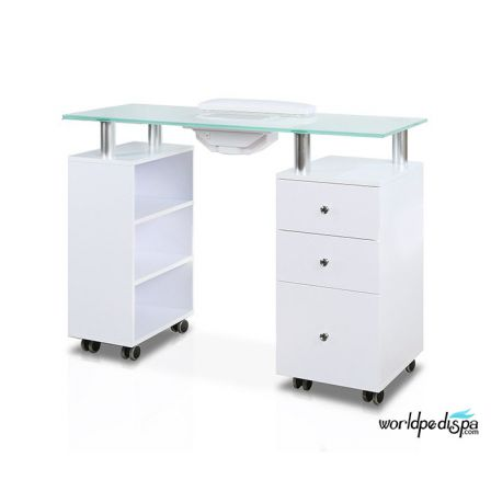 A - White Glass Top Manicure Table with Fan