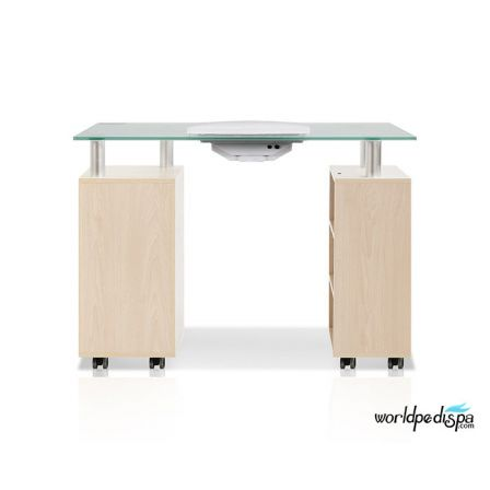 JA -Maple Glass Top Manicure TableJA -Maple Glass Top Manicure Table