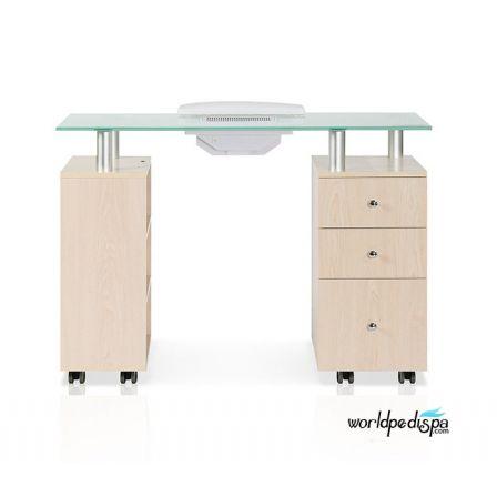 JA -Maple Glass Top Manicure Table