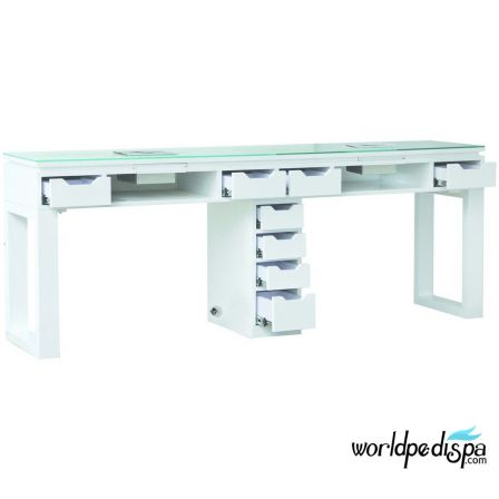 White Valentino Lux Double Table Drawers