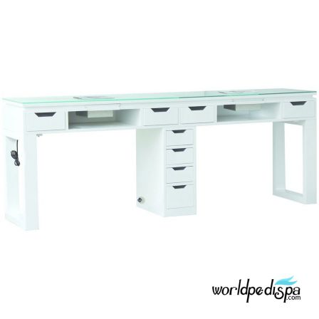 White Valentino Lux Double Table Rear