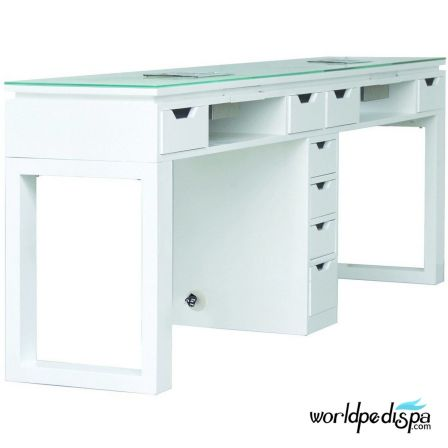 White Valentino Lux Double Table Side