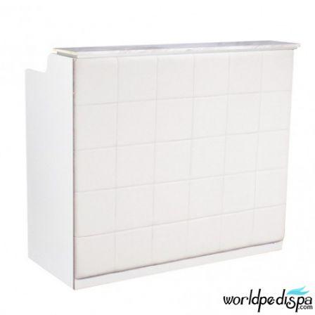 White/White/Brown Marble - Fab Reception Desk