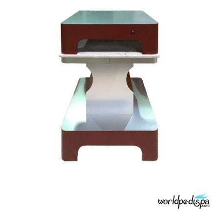 Burgundy/Aluminum -Nail Dryer Table for Salon
