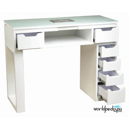 White Valentino Lux Manicure Table Drawers