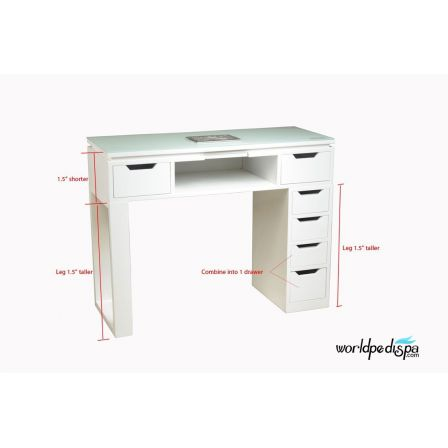 White Valentino Lux Manicure Table Front