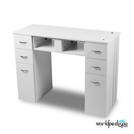 White/White Granite Top Nail Table Single