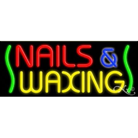 Nails & Waxing: R,Y,B,. Logo: Green