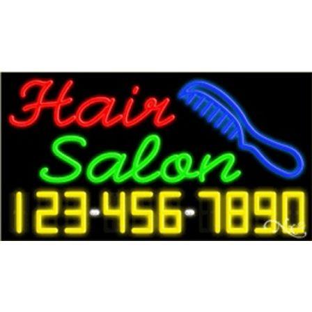 Hair: Red. Salon: Green. Logo: Blue. Phone: Y,W