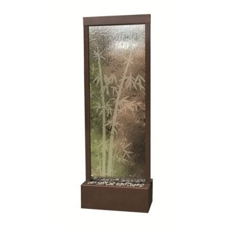 8' Dark Copper Gardenfall Fountain with Bamboo Etched Design