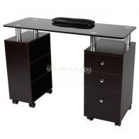 JA - Walnut glass Top Manicure Table
