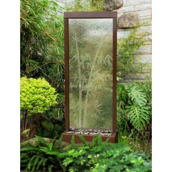 6' Center Mount Dark Copper Gardenfall Fountain With Bamboo Etched Design