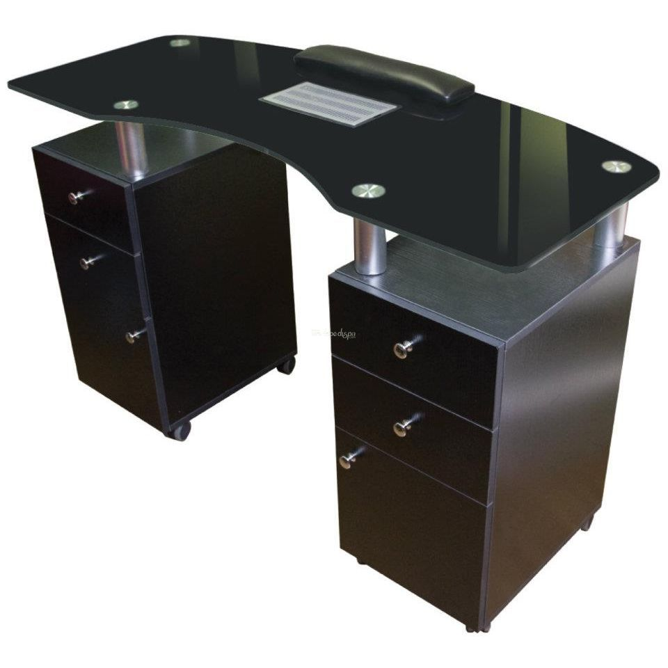 Ja Walnut Glass Top Manicure Table
